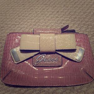 Stunning Guess pink croc wristlet